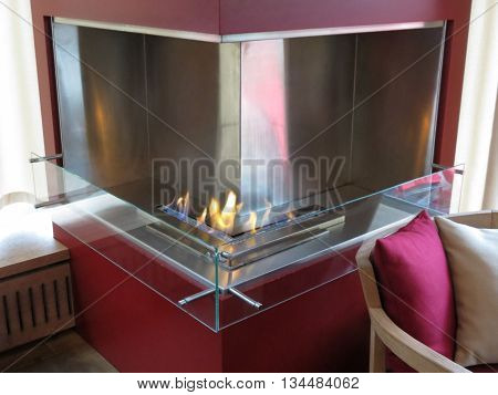 HELSINKI FINLAND - CIRCA JUNE 2012: contemporary methane fireplace