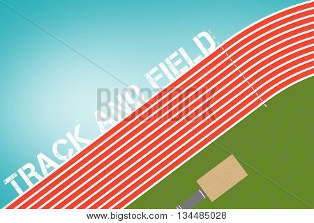 Track and field message on a white background against blue vignette background