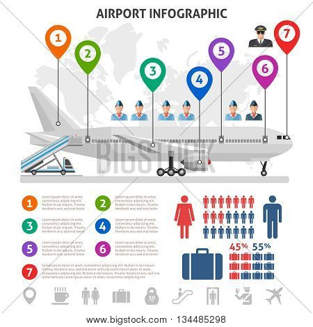 Airport service infographics with airplane world map stewardesses pilot information signs statistics on white background vector illustration