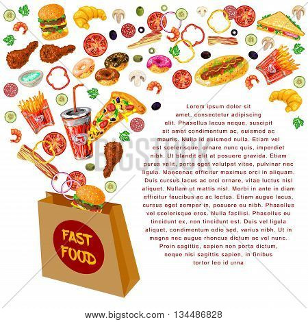 Fast food composition with paper bag from which strewed fast food and text at bottom right vector illustration