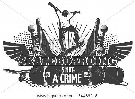Skateboarding black poster with headline skateboarding is not a crime vector illustration