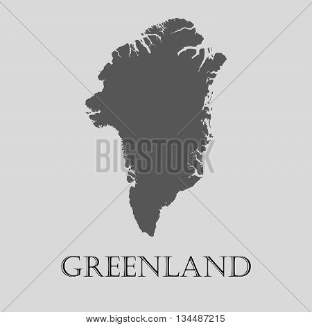 Black Greenland map on light grey background. Black Greenland map - vector illustration.
