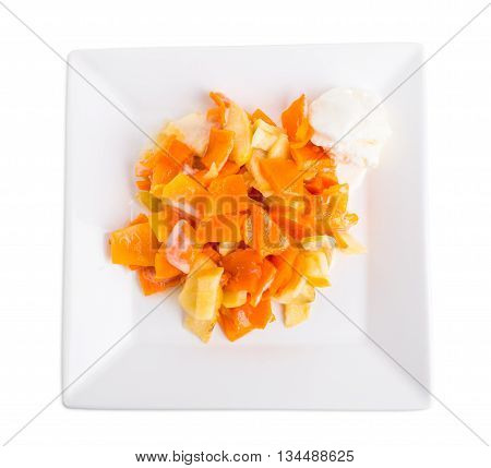 Delicious apple and peach dessert with vanilla ice cream scoop. Isolated on a white background.