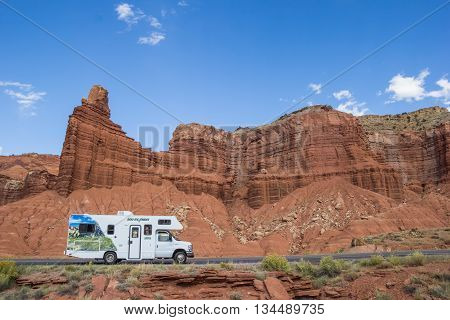 CAPITOL REEF, UT, USA - OCTOBER 3, 2015: RV along a road in Capitol Reef National Park, USA