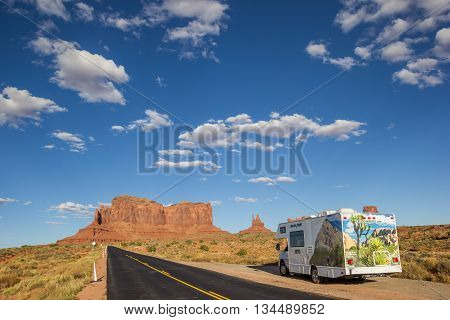 MONUMENT VALLEY, UT, USA - OCTOBER 4, 2015: RV in monument valley, United States of America