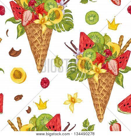 Summer vector hand drawn seamless pattern with a fruity cocktail in waffle cone flowers isolated natural illustration Berries in waffle cones
