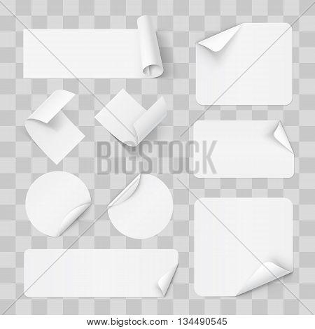 Big Set of Paper Sticker on Transperent Background