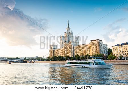Moscow architecture and passengers boats on the Moskva river