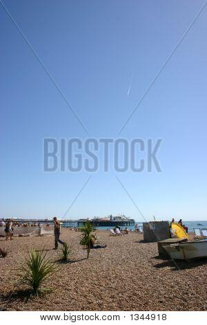 Blue sky over a pebble beach