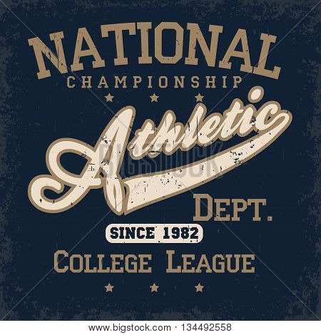 Sport wear typography emblem, t-shirt stamp graphics, vintage tee print, athletic apparel design graphic print. USA original wear. vector