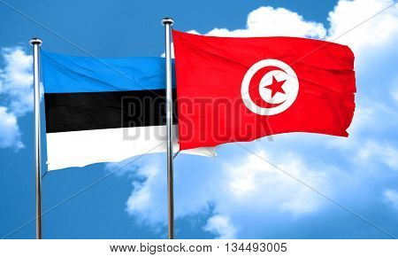 estonia flag with Tunisia flag, 3D rendering poster