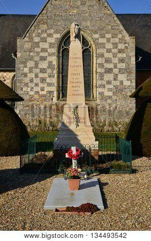 Fleury la Foret France - march 15 2016 : the war memorial near the church