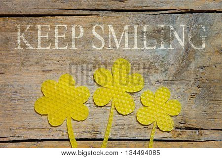 Beeswax, Three Flowers On Wooden Table, Keep Smiling