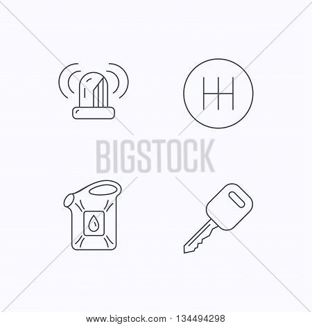 Manual gearbox, jerrycan and car key icons. Siren alarm, fuel jerrycan linear signs. Flat linear icons on white background. Vector