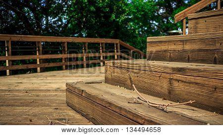 Wood Deck, backyard wooden deck in summer