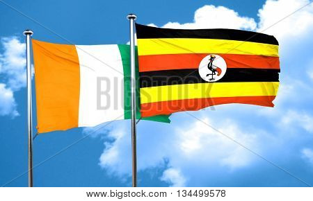 Ivory coast flag with Uganda flag, 3D rendering poster