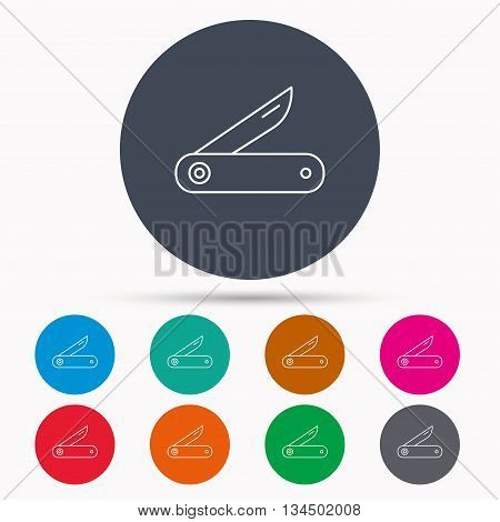 Multitool knife icon. Multifunction tool sign. Hiking equipment symbol. Icons in colour circle buttons. Vector