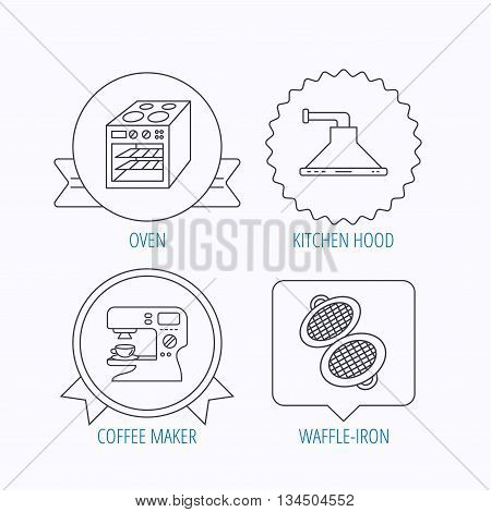 Waffle-iron, coffee maker and oven icons. Kitchen hood linear sign. Award medal, star label and speech bubble designs. Vector