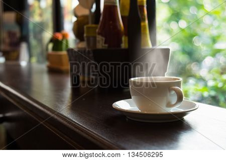 cup of coffee in the morningselective focus