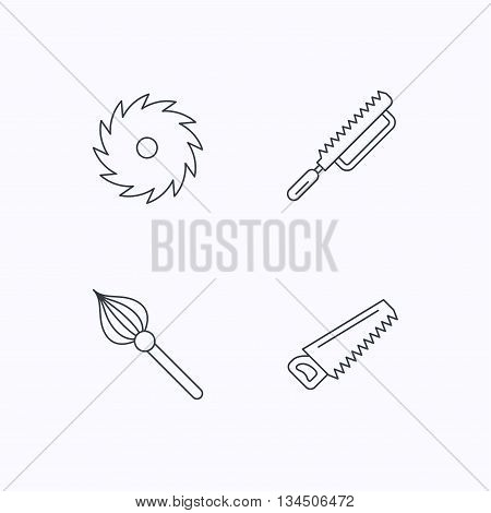 Fretsaw and repair tools icons. Circular saw and brush linear signs. Flat linear icons on white background. Vector