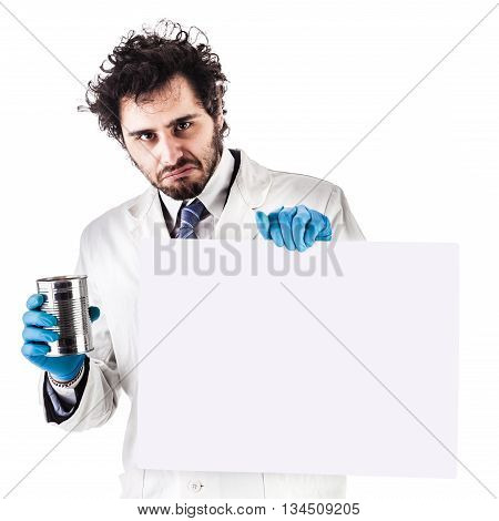 Scientist With Blank Sign