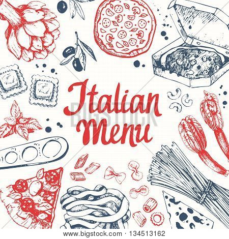 Sketch design. Pasta set in sketch style. Italian homemade traditional food on white background.