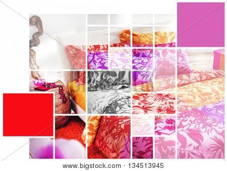 GEOMETRICAL SHAPES EFFECT ON COLORFUL BEDROOM INTERIOR PHOTO