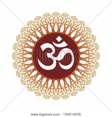 Om Symbol Aum Sign with Decorative Indian Ornament Mandala