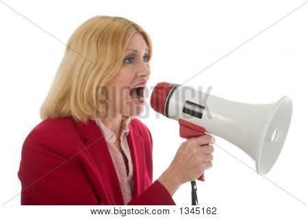 Business Woman Using Megaphone For Control
