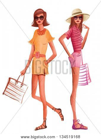 Fashion women in summer dress ready for the beach - vector illustration