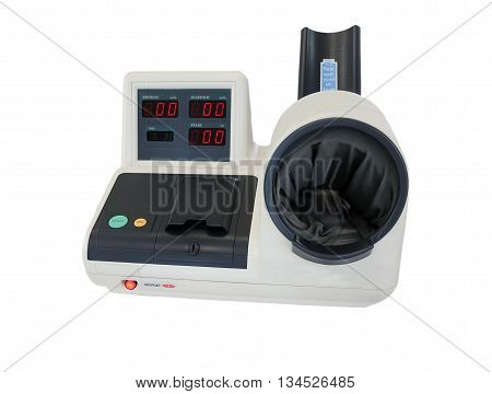 Measuring blood pressure, Digital blood pressure mesuring device isolated on white background