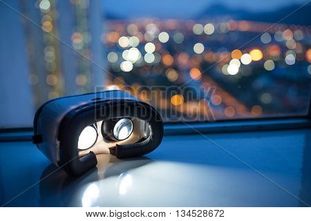 VR device with cityscape background