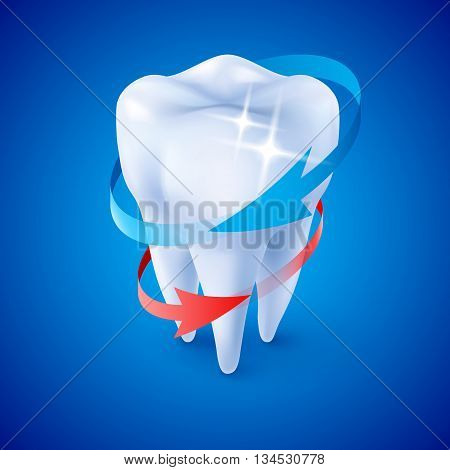 Isometric Illustration Herbal and Fluoride Protection Icon of a Tooth on Blue