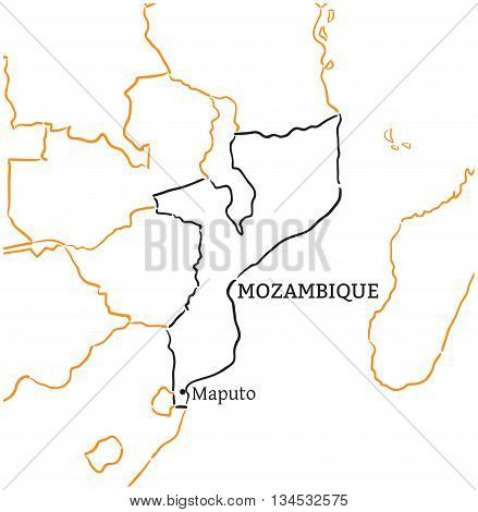 Mozambique country with its capital Maputo in Africa hand-drawn sketch map isolated on white