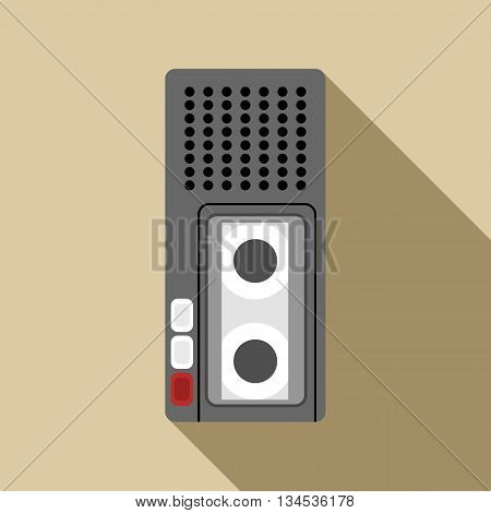 Dictaphone icon in flat style with long shadow. Sound recording symbol