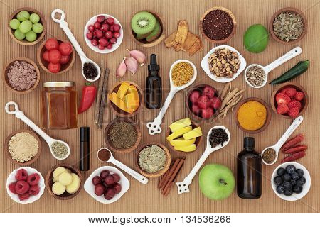 Large food and alternative medicine selection for cold remedy to boost immune system, high in vitamins, antioxidants and minerals