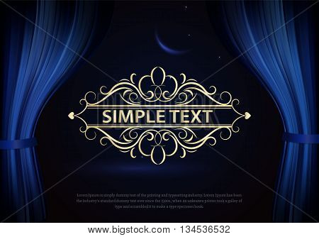 Dark blue curtain scene gracefully. Cover with vertical motion blur and text. Like curtains in theater. Elegance vector backdrop with vintage sign