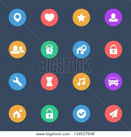 Miscellaneous flat icons vector set of 16