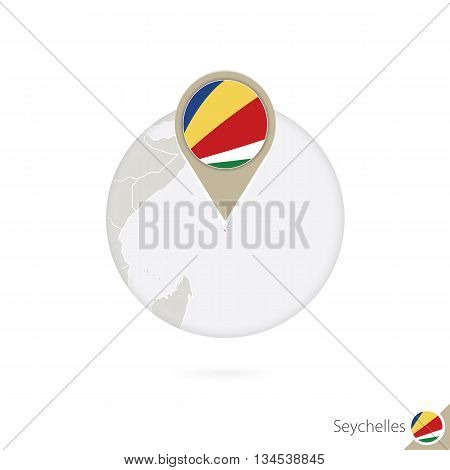 Seychelles Map And Flag In Circle. Map Of Seychelles, Seychelles Flag Pin. Map Of Seychelles In The