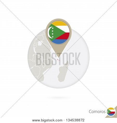Brazil Map And Flag In Circle. Map Of Comoros, Comoros Flag Pin. Map Of Comoros In The Style Of The