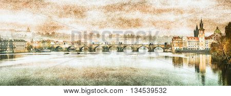 Charles Bridge in Prague (Karluv Most) the Czech Republic. Vintage effect.