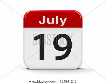 Calendar web button - The Nineteenth of July three-dimensional rendering 3D illustration
