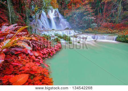 Waterfall In Rain Forest (tat Kuang Si Waterfalls At Luang Prabang, Laos)