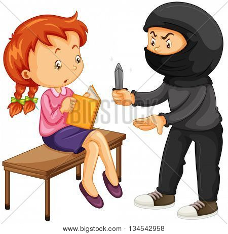 Robber threatening woman with knife illustration