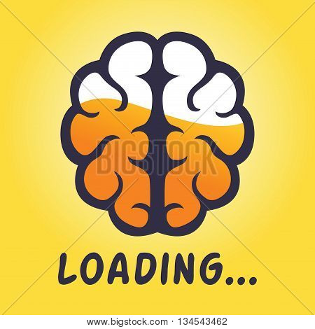 Vector stock of human brain thinking progress half full concept