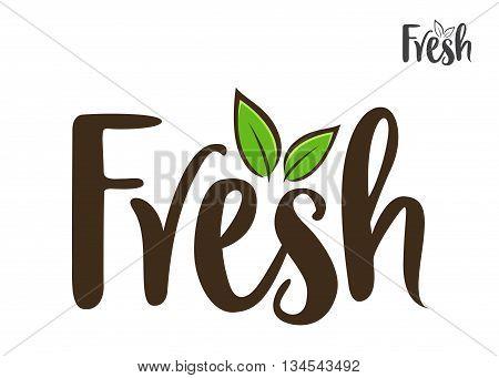 Vector stock of fresh word handwritten typography lettering art
