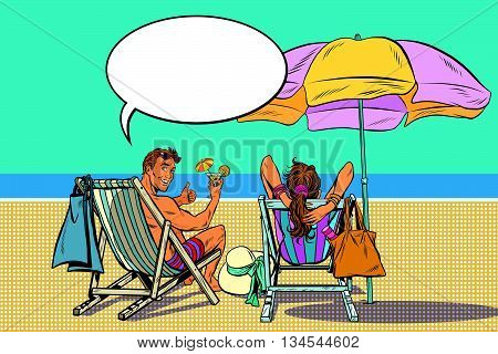 beautiful couple man and woman resting on the beach pop art retro vector. Travel and tourism. A holiday by the sea