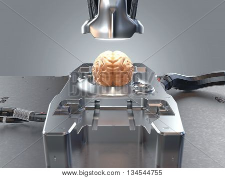 brain lies on a research table top lamp is pointed and made powerful cable. Futuristic setting. Conceptual illustration. Brain research. Artificial Intelligence. Future of mankind. 3d render