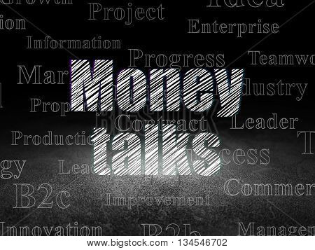 Business concept: Glowing text Money Talks in grunge dark room with Dirty Floor, black background with  Tag Cloud