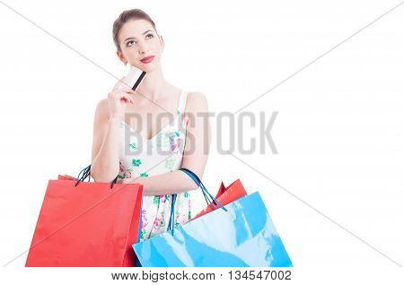 Woman At Shopping Holding A Credit Debit Card